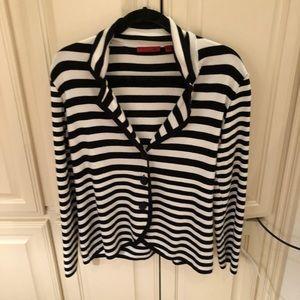 Red Striped Cardigan Sweater Blazer XL Black White